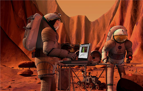 Artist's rendering of a manned Mars mission. Credit: NASA