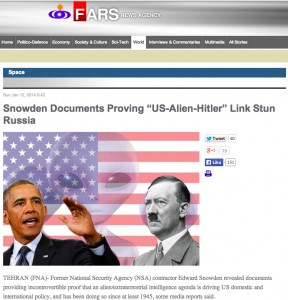 Fars News Agency story on Nazi Space aliens running USA