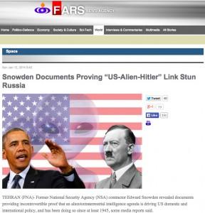 Fars News Agency story on Nazi Space aliens running USA