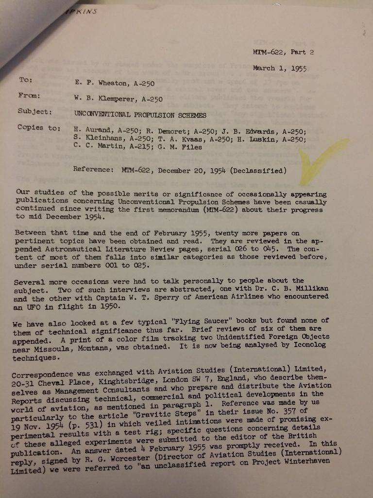Douglas Memo on Antigravity Research